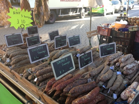 Salames and Sausages from a French vendor whilst we were in Woodstock, look at what kinds there are available- kangaroo!