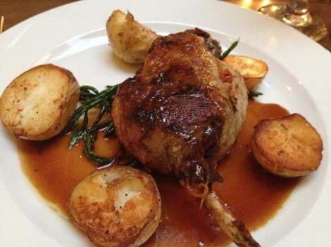 Duck leg confit with samphire grass and roasted potatoes courtesy of the Kings Arm Restaurant.