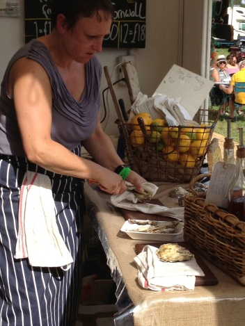 Shucking oysters at Blenheim Palace Horse Trials.