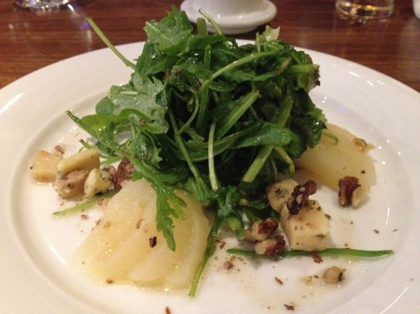 Pear, watercress and stilton salad at our Hilton hotel at Terminal 5 Heathrow Airport.