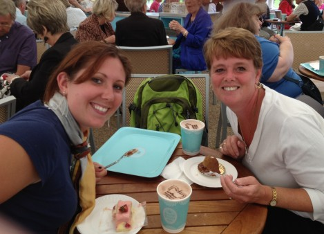 Kat and Kristin enjoying some desserts at Buckingham Palace.