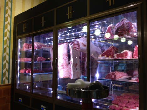 The dry aged prime beef at Harrod's.
