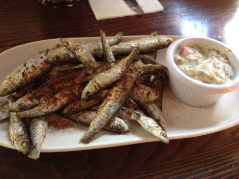 Fried Whitebait at The Queen's Arms.