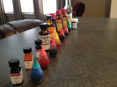 My concoctions of colors and flavors. (I doubled the batch)