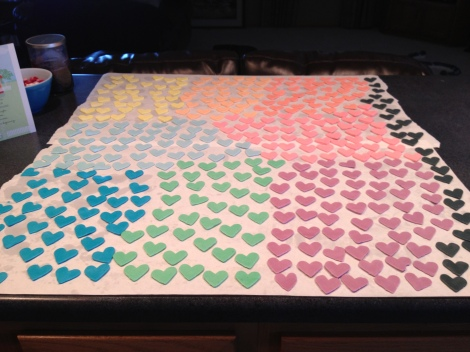 All the many hearts, drying!