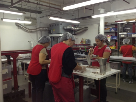The ladies behind the molded and filled chocolates.