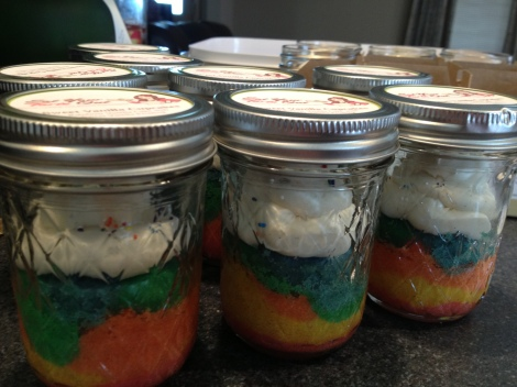 Jars of Sweet Vanilla Cupcakes with their fun layered batter.