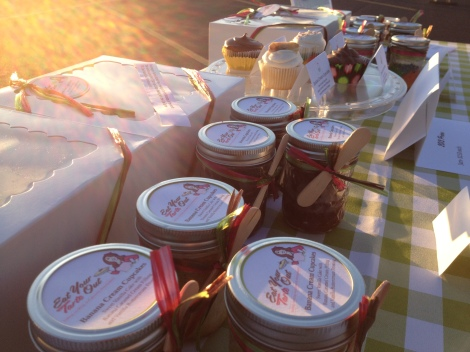 The early AM sun shining on my table of goodies at the farmers market.