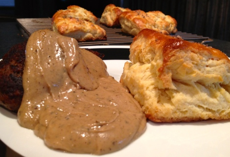 Biscuits with farm fresh sausage, and homemade gravy. A stick to your insides, good southern breakfast.