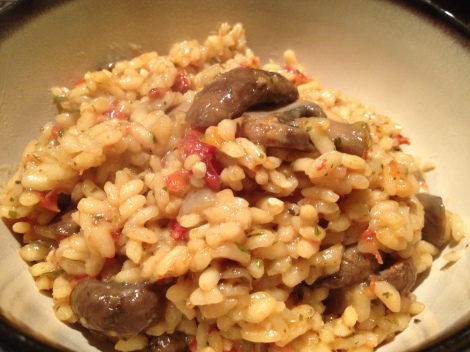Risotto still holding it's shape with a delicious creamy sauce. Looks good enough to eat!