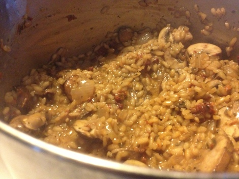 Risotto is now complete as it's holding together but has a luscious loose sauce.