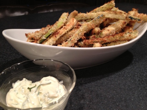 Zucchini Fries with Herbed Mayo.