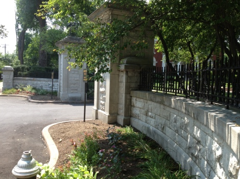 The gated entrance to just one of the many private streets in the Central West End.