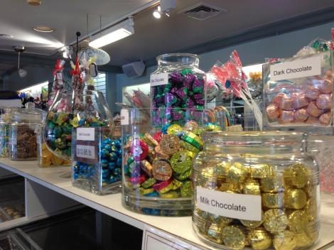 Varieties of hand wrapped candies, chocolates and goodies.