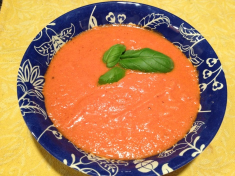 A bowl of the finished tomato bisque!