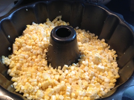 Kernels from the cob become contained in the bundt pan when slicing them off versus trying to cut them on a cutting board.