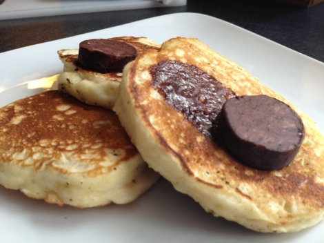 Chocolate salted butter is perfect for pancakes! Look at the ooey-gooeyness!