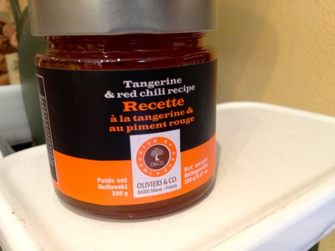 O and Co.'s tangerine and chili preserves use to glaze a chocolate brownie!