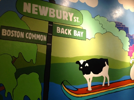 Ben and Jerry's wall art depicting the neighborhood in which we traveled.