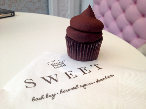 Sweet Bakery on Newbury St. and their double chocolate cupcake.