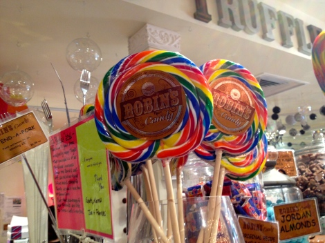 Robin's Candy Shop has everything bright, colorful and delicious including giant lollipops!