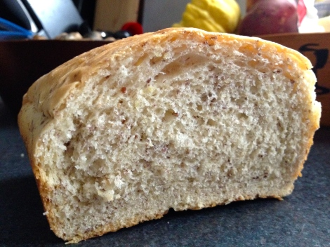 Finished flaxen whole wheat sandwich bread!