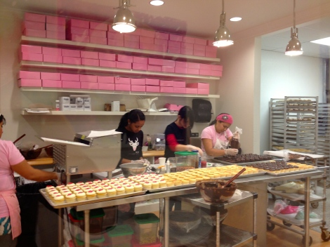 Watching the staff hard at work preparing all the delicious cupcakes.