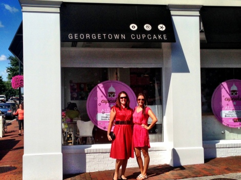 My sister and I in front of the Georgetown Cupcake home location.