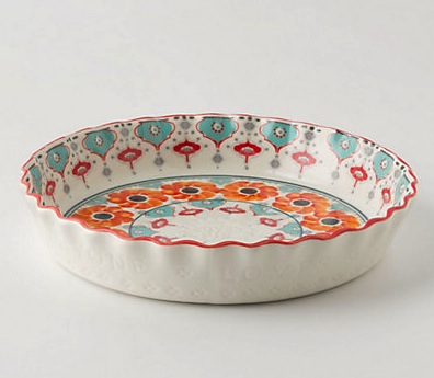 A beautiful pie pan from Anthropologie helps showcase beauty inside and out.